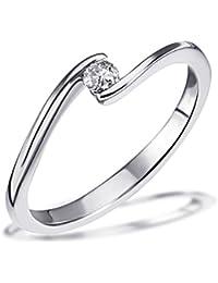 Goldmaid Damen-Ring Solitär Verlobungsring 585 Weißgold 1 Brillant 0,10 ct. So R4958WG