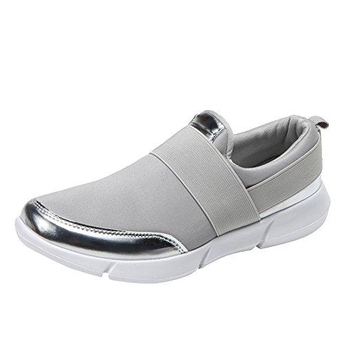 Qmber Laufschuhe Damen Turnschuhe Freizeit Sneaker Bequem Schnürer Gym Fitness Atmungsaktives Mesh Turnschuhe/Gray,37