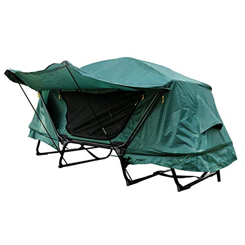 WXH Zelt-Feldbett, erhöhtes kampierendes Zelt, das Bett wandernd und Falten wasserdicht mit dem Tragetasche-Eisen-Rohr-Spreizen-Wandern kann Insekten-Felsen und Feuchtigkeit verhindern,M