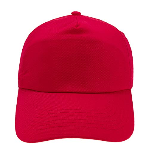 4sold Junior Original 5 Panel Cap Unisex Jungen Mädchen Mütze Baseball Cap Hut Kinder Kappe (Red)