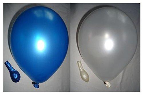 Preisvergleich Produktbild 50 metallic Luftballons je 25 weiß & blau Qualitätsballons 27 cm Ø (Standardgröße B85)