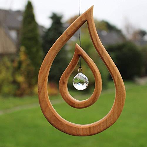 Fensterdeko aus Holz Tautropfen zum Aufhängen | Regenbogenkristall | Fensterschmuck Tautropfen | Fenster Deko | Geschenkidee