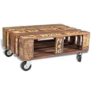 vidaXL Couchtisch Beistelltisch Kaffeetisch Tisch mit 4 Rollen Recyceltes Holz
