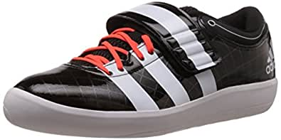 adidas Men's Adizero Shotput 2 Core Black, White and Solar Red Mesh Track and Field Shoes - 8 UK