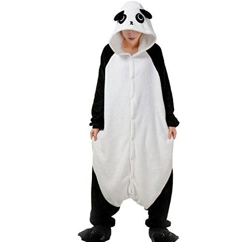 Aivtalk Unisex Schlafanzug Für Erwachsene Korallen Samt Tier Nachtwäsche Cartoon Einteiler Pyjamas Herren & Damen Cosplay Kostüme Tierkostüme Sleepwear Asiatische Größe X - Panda 2 (Cute Panda Kostüm)