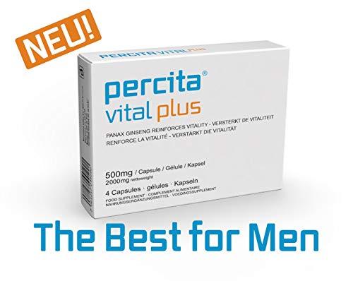 Potenzmittel,Percita Vital Plus Nahrungsergänzungsmittel und Hilfsmittel für Männer (for mens only) mit Ginseng und wilder Yam | Hochdosierte Kapseln | Rezeptfrei | 4 Kapseln 500 mg - Chinese Herbal Supplement
