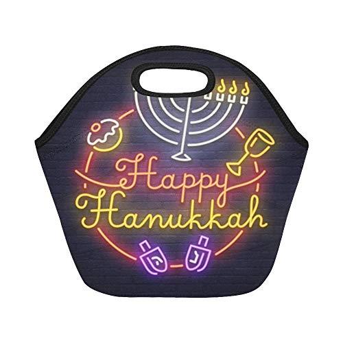 Isolierte Neopren-Lunch-Tasche Happy Hanukkah Neon Sign Neon Sign Große, wiederverwendbare, dicke Thermo-Lunch-Tragetaschen für Brotdosen Für den Außenbereich, Arbeit, Büro, Schule - Große Neon Tote Taschen