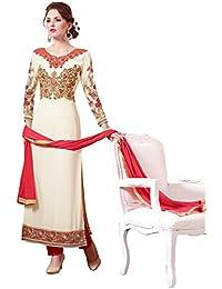Lilots Georgette Cream Straight Cut Suit Semi Stitch Salwar Kameez