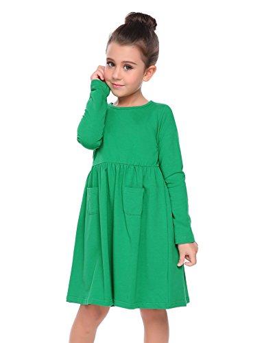 Kinder Süße Grün Kleid (CHIGANT Mädchen Langarm T-shirt Kleid Skaterkleid Einfarbige Kleid mit Rundhals)