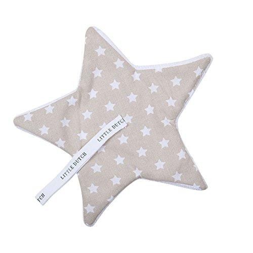 LITTLE DUTCH 3964 Schnullertuch beige mit weißen Sternen