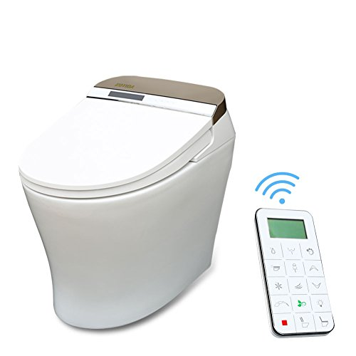 KOYIDA P08 One-piece Intelligent Shower Bidet Toilet with Heated Seat,Full Automatic,LED light, LCD Screen and Wireless Romote Control,Round,Cotton White