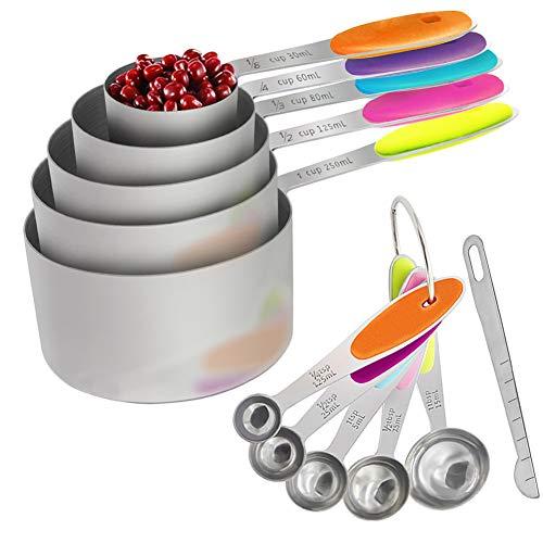 OneChois 11 Stück Messbecher und Messlöffel Set, Stabiler Edelstahl 5 Messbecher + 5 Messlöffel + 1 Nivellierer mit bunten rutschfesten Silikongriffen für flüssige und trockene Zutaten Cooking Cup Messen