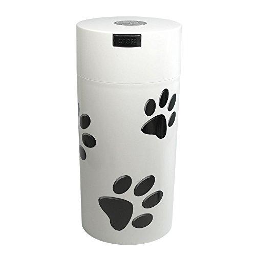 Tightpac America, Inc. pawvac 24oz envase Sellado al vacío contenedor de Almacenamiento de Comida para Mascotas; Color Blanco Tapa de plástico y Cuerpo/Negro Patas