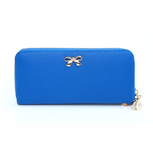 Anglewolf Donne Sveglie Borsa Di Bowknot Decorazioni Pure Color Zipper Wallet Handbag (Nero) Blu scuro