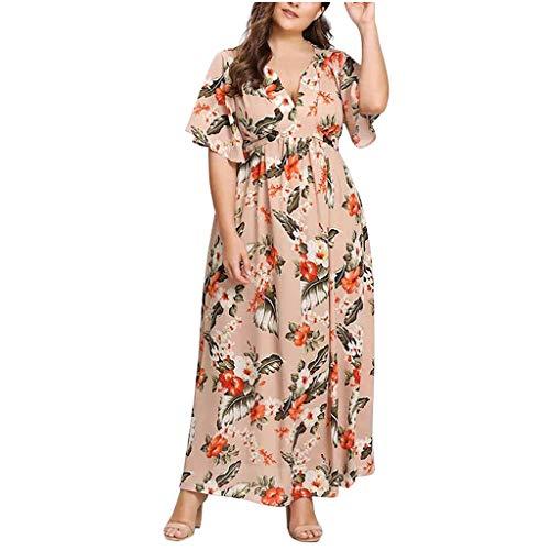 iYmitz Damen Übergröße Maxikleid Elegant V-Ausschnitt Kurzarm Kleider mit Blumen Pailletten Abend Party Netzkleid(Y1-Rosa,EU-54/CN-5XL) -