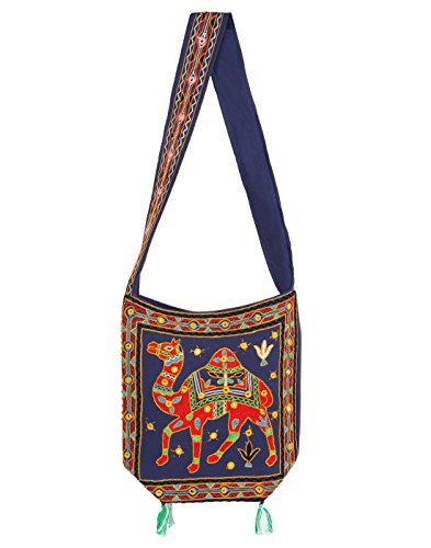 Blue Sling Bag for Girls Jhola Bags Jaipuri Rajasthani Ethnic Design Embroidery Hand Bag Girls Jhola Bags Jaipuri Rajasthani for Girl Women Ladies By Rajrang  available at amazon for Rs.449