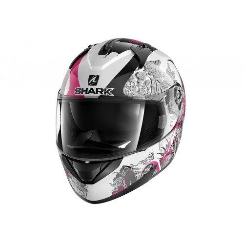 Shark Ridill Spring Wkv, casco da moto, bianco/nero/viola, taglia XS