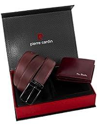 Set hombre PIERRE CARDIN burdeos cuero parure cartera + cinturón 109 cm A5289