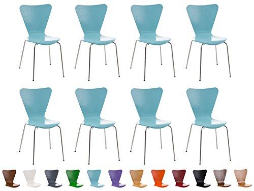 Clp set 8x sedie impilabili calisto con seduta in legno e telaio in metallo | sedia conferenza salvaspazio, facile da pulire | sedia classica riunioni | altezza seduta 45 cm | sedia attesa per fiere |sedia visitatore robusta blu chiaro