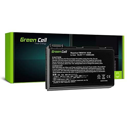 Green Cell Standard Serie GRAPE32 Laptop Akku für Acer TravelMate 5220 5230 5310 5320 5330 5520 5520G 5530 5530G 5630Z 5710 5720 5720G 7220 7520 7520G 7720 7720G (8 Zellen 4400mAh 14.8V Schwarz)