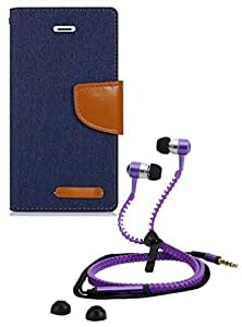 Aart Fancy Wallet Dairy Jeans Flip Case Cover for SamsungSamsung7106 (NavyBlue) + Zipper Earphones/Hands free With Mic *Stylish Design* for all Mobiles- computers & laptops By Aart Store.