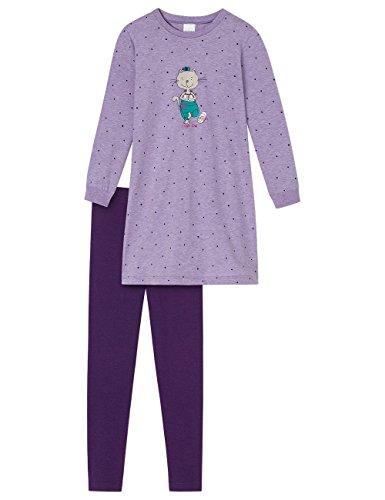 Schiesser Mädchen Cat Zoe Nachthemd 1/1 mit Leggings Zweiteiliger Schlafanzug, Blau (Lila 820), 104 -
