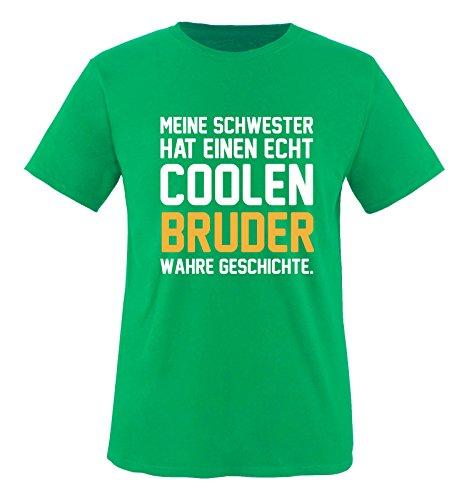 Hündin Gelbes T-shirt (Comedy Shirts - Meine Schwester hat einen echt coolen Bruder wahre Geschichte. - Jungen T-Shirt - Grün / Weiss-Gelb Gr. 134/146)