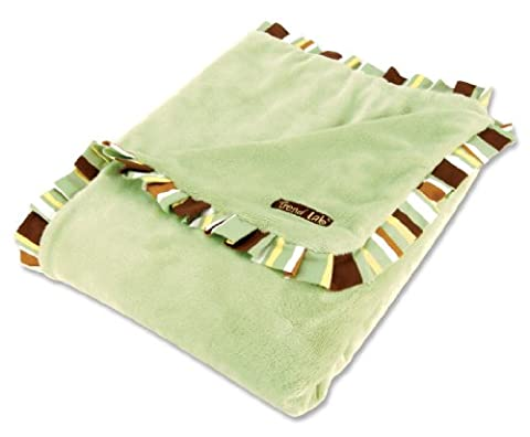 Trend Lab Receiving Blanket in Sage Velour with Giggles Stripe Ruffle