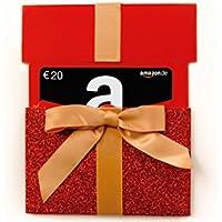 Amazon.de Geschenkkarte in Geschenkschuber - (rotes Glitzergeschenk) - mit kostenloser Lieferung per Post