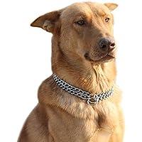 Collar de adiestramiento para perros, de la marca Moonpet, con diseño de doble cadena