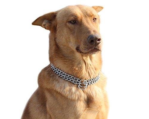 Moonpet-Edelstahl-Halsband, Kette aus Metall,für Training, Hund,2Reihen, Chrom, verstellbar