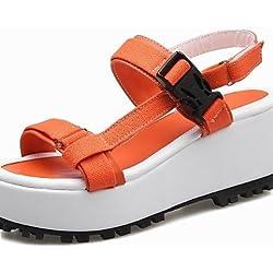 UWSZZ IL Sandali eleganti comfort Scarpe Donna-Sandali-Tempo libero / Formale-Plateau / Cinturino / Creepers / Con cinghia-Plateau-Tessuto-Giallo / Rosa / Arancione , orange-us8 / eu39 / uk6 / cn39 , orange-us8 / eu39 / uk6 / cn39