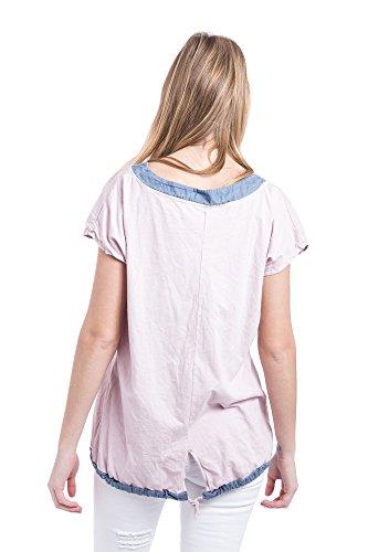 Abbino 92305 Damen Shirts Tops - Made in Italy - Frühjahr Sommer Basics Shirts T Damenshirts Damentops Kurzarm Taillenlang Rundhals Buchstaben Sale Feminin Lässig Sexy Spitze Festlich - 3 Farben Rosa