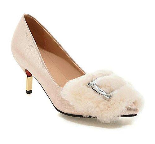 Delle donne Shallow mouth i pattini corte di diamante a punta sottile con gli alti sandali con tacco , gold , 36