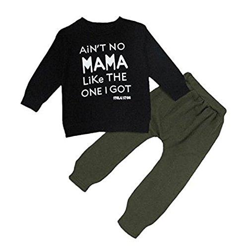 QHGstore 2pcs Baby-Satz-nette Kind-gesetzte Kleidung-warmer runder Ansatz-langes Hülsen-Buchstabe-Druck-T-Shirt + Hosen-Ausstattungs-Satz (Outfits Weihnachtliche)