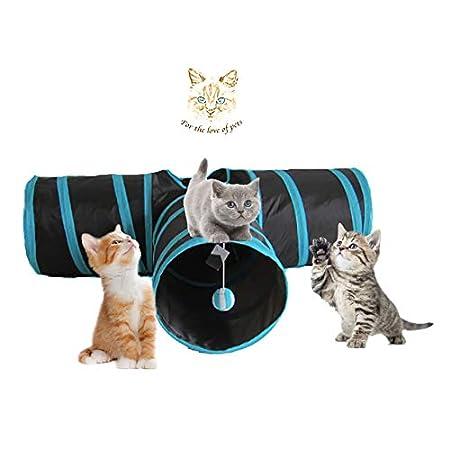 Angel's Pride Katzenspielzeug Katzentunnel, Katze Spielzeug Hundespielzeug Spieltunnel Faltbarer 3-Wege-Spiel Tunnel für…