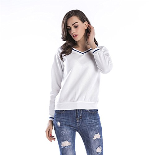 Preppy Look Style épais Chaud Manches Longues Col en V Varsity Rayé à Rayures Contrast Piping Trim Coton Sweatshirt Sweat-shirt T-Shirt Haut Top Blanc