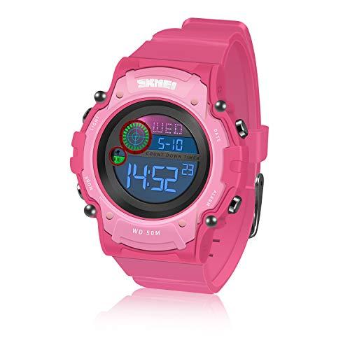 für 4-12 Jahre alte Mädchen, Kinder-Armbanduhren Time Teacher Waterproof Multifunction Watch Outdoor Geschenke für 4-12 Jahre alte Mädchen Kids Digital Sport Watch TTKWD010 ()
