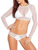 Fashion Womens Sexy Black Mesh Halter Bikini Set 3pcs Swimwear Bathing Suits (M, White)