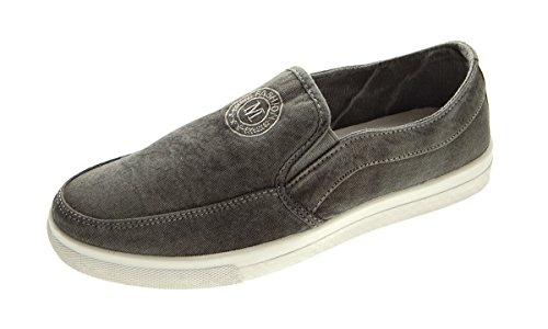 Herren Knöchel Leinenschuhe bestickt Slipper Ziernähte Halb Schuhe Gr. 39-45 Schwarz-Grau