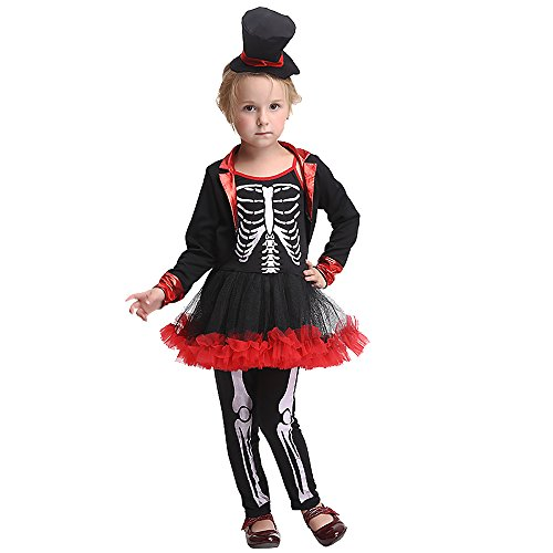 Uleade Baby Mädchen Skelett Halloween Kostüm Kinder Festival Performance Kostüm Party Cosplay Kleider Outfit (Dress Up Ideen Für Gruppen)