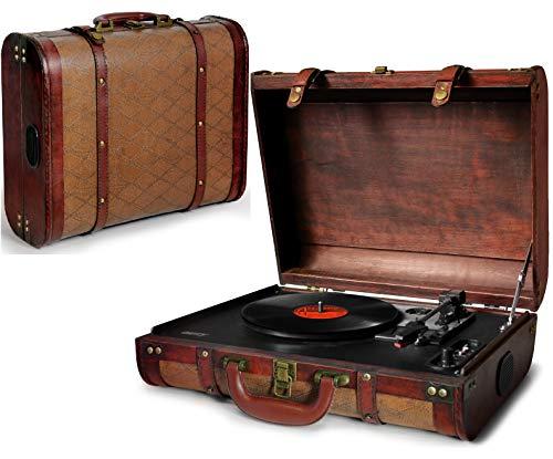 Plattenspieler Koffer | Schallplattenspieler | Turntable | Nostalgie Retro Plattenspieler im Koffer | Vinyl Player | Kofferplattenspieler | AUX IN | integrierte Lautsprecher | (Nostalgie-plattenspieler)