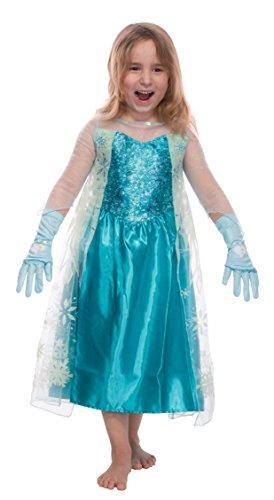 Mädchen Eiskönigin Prinzessin Elsa Schneeprinzessin Kostüm Kinder - Handschuhe und Kleid - Gr 116 cm (5-6 Jahre) (Elsa Kostüm Disney)