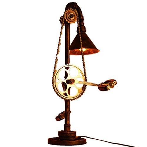 HHORD Lron Button Gear Tisch Lampe Retro industrielle Wind Gear Licht Hotel Room Coffee Table Lamp Gear Kinderaccessoires Auge Schutz Lampe 73 * 40cm Baldachin Schutz Uhr
