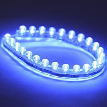 LEDER® 12v LED Flexible BLUE Strip Light 24cm / 24 LED's ** IDEAL FOR CARS, CAR STYLING, AQUARIUMS, ETC **