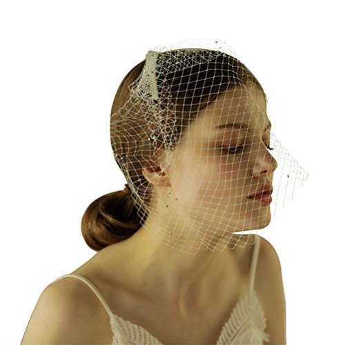 Lurrose Vintage Hochzeit Braut kurzen Schleier bedeckt Gesicht Mesh-Gaze ??mit glänzenden Perlen schneiden Rand Hochzeit Zubehör (Elfenbein weiß -