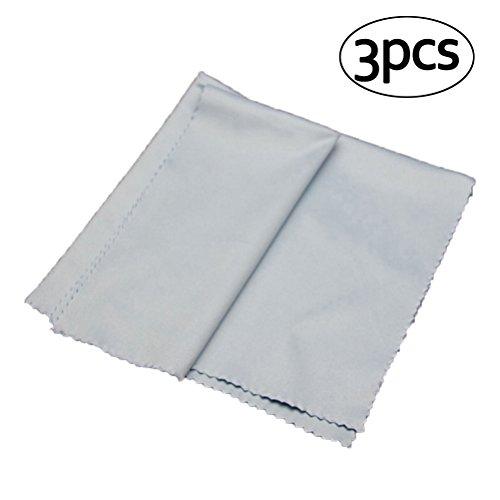 Ultnice Reinigungstücher aus weicher Mikrofaser, Poliertuch für Schmuck, Kunsthandwerk, Kameralinse, Brillen, 40 x 40 cm (blau), 3 Stück.