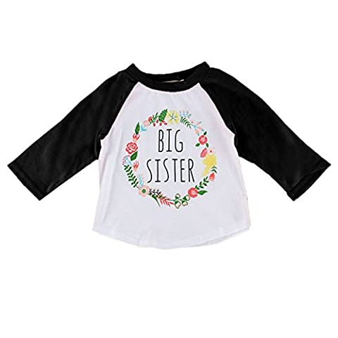 Puseky Toddler Baby Girls Floral Printed Autumn Long Sleeve T-shirt Funny Shirt (2-3 Year, Black)