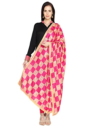 Dupatta Bazaar Woman\'s Pink & Beige Phulkari Embroidery Chiffon Dupatta