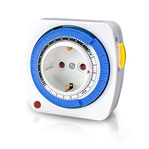 benon Zeitschaltuhr Mechanisch - 96 Segmente (je 15 min) - Timer Auto/On/Off Funktion - Mit Kindersicherung - Steckdose max. 3680W